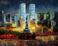 ABSTRACT -  NEW YORK - MANHATTAN SKYLINE AT SUNSET 16X20   OIL PAINTING