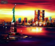 ABSTRACT -  NEW YORK - MANHATTAN SKYLINE AT SUNSET 20X24   OIL PAINTING