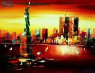 ABSTRACT -  NEW YORK - MANHATTAN SKYLINE AT SUNSET 12X16   OIL PAINTING