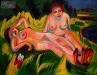 ERNST LUDWIG KIRCHNER - TWO NUDES IN PINK BY THE LAKE  12X16   OIL PAINTING