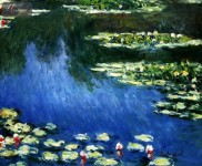 "CLAUDE MONET - WATER LILIES IN SPRING  20X24 "" HAND PAINTED OIL ON CANVAS"