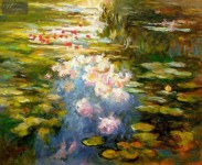 CLAUDE MONET - WATER LILIES IN THE LIGHT  16X20   OIL PAINTING