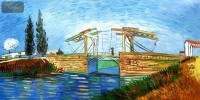 VINCENT VAN GOGH - THE LANGLOIS BRIDGE AT ARLES 24X48   OIL PAINTING