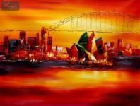 MODERN ART - SYDNEY OPERA AT SUNSET 36X48   ORIGINAL OIL PAINTING