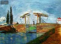 VINCENT VAN GOGH - THE LANGLOIS BRIDGE AT ARLES 32X44   OIL PAINTING
