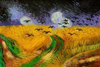 VINCENT VAN GOGH - WHEAT FIELD WITH CROWS 24X36   OIL PAINTING