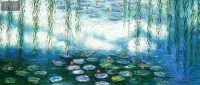CLAUDE MONET - WATER LILIES & PASTURES SPECIAL ED MINT GREEN 30X72   OIL PAINTING