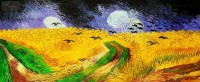 VINCENT VAN GOGH - WHEAT FIELD WITH CROWS 30X72   OIL PAINTING