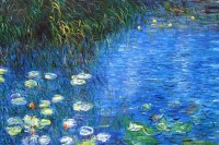 CLAUDE MONET - WATER LILIES AND REED 48X72   OIL PAINTING MUSEUM QUALITY