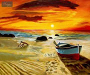 NORTH SEA SUNSET & BOAT20x24   ORIGINAL OIL PAINTING