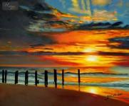 MODERN ART - SUNSET BY NORTH SEA 20x24   ORIGINAL OIL PAINTING