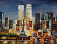 ABSTRACT NEW YORK SKYLINE AT SUNSET 16x20   ORIGINAL OIL PAINTING
