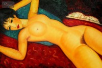 AMEDEO MODIGLIANI - NUDE WITH BLUE CUSHION 24x36   OIL PAINTING