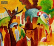 "AUGUST MACKE - IN THE ZOOLOGICAL GARDENS 20x24 "" OIL PAINTING"