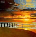 MODERN ART - SUNSET BY NORTH SEA 48x48   ORIGINAL OIL PAINTING