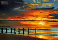 MODERN ART - SUNSET BY NORTH SEA 24x36   ORIGINAL OIL PAINTING