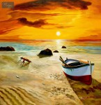 NORTH SEA SUNSET & BOAT32x32   ORIGINAL OIL PAINTING