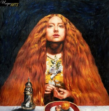 "EVERETT MILLAIS THE BRIDESMAID 24X24"" OIL PAINTING – image 1"