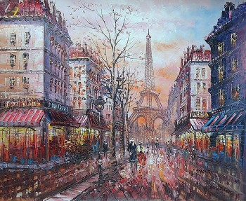 PARIS EIFFEL TOWER IN THE YEAR 1920 20x24' OIL PAINTING – image 1