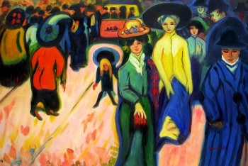 "ERNST LUDWIG KIRCHNER THE STREET 24X36"" OIL PAINTING – image 1"