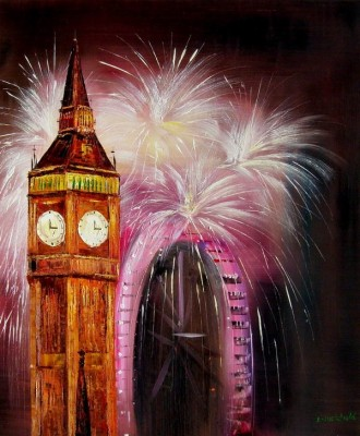 Big Ben Amp London Eye Fireworks 20x24 Quot Original Oil