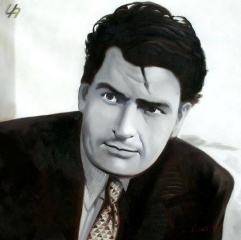 "MODERN ART CHARLY SHEEN - PORTRAIT 32X32"" OIL PAINTING ORIGINAL CONTEMPORARY ART – image 1"