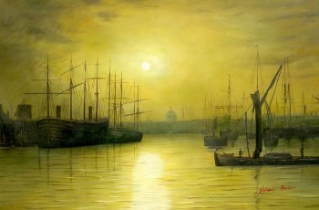 "JOHN ATKINSON GRIMSHAW NIGHTFALL DOWN THE THAMES 24X36"" OIL PAINTING REPRODUCTION"