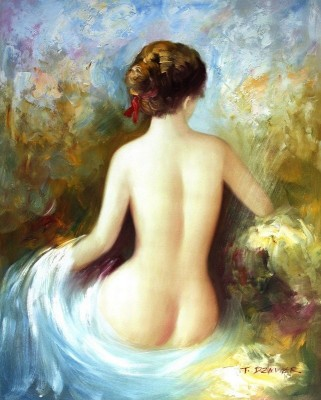 "MODERN ART - SEATED NUDE 16X20 "" OIL PAINTING – image 1"