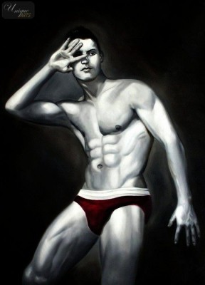 "MALE NUDE ART - MALE MODEL  POSING 32x44 "" ORIGINAL OIL PAINTING  – image 1"