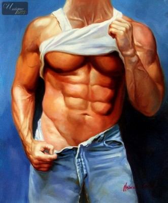 "MALE NUDE ART -  SIXPACK IN BLUE JEANS 20x24 "" ORIGINAL OIL PAINTING  – image 1"