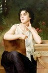 "WILLIAM ADOLPHE BOUGUEREAU - INSPIRATION 24X36 "" OIL PAINTING MUSEUM QUALITY – image 2"