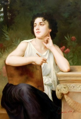 "WILLIAM ADOLPHE BOUGUEREAU - INSPIRATION 24X36 "" OIL PAINTING MUSEUM QUALITY – image 1"