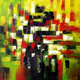 "ABSTRACT ART - AUTMUN IN HYDE PARK  48X48 "" ORIGINAL OIL PAINTING – image 2"