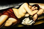 "HOMAGE TO T. DE LEMPICKA - RECLINING NUDE WITH BOOK  24X36 "" OIL PAINTING REPRODUCTION – image 2"