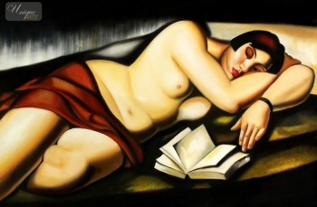 "HOMAGE TO T. DE LEMPICKA - RECLINING NUDE WITH BOOK  24X36 "" OIL PAINTING REPRODUCTION – image 1"