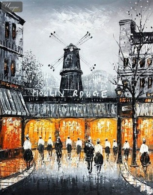 "MODERN ART - PARIS MOULIN ROUGE 16x20 "" CONTEMPORARY OIL PAINTING – image 1"