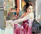 "MODERN ART - THE TEMPTATION  20X24 ""  ORIGINAL OIL PAINTING – image 2"