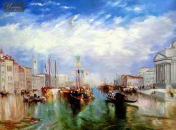 "WILLIAM TURNER - THE GRAND CANAL IN VENICE 36X48 "" OIL PAINTING – image 1"
