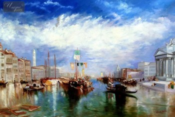 "WILLIAM TURNER - THE GRAND CANAL IN VENICE 48X72 "" OIL PAINTING MUSEUM QUALITY – image 1"
