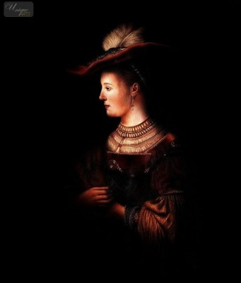 "REMBRANDT - SASKIA IN POMPOUS CLOTHES 20X24 "" OIL PAINTING MUSEUM QUALITY – image 1"