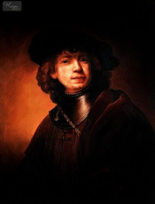 "REMBRANDT - SELF-PORTRAIT AS A YOUNG MAN 12X16 "" OIL PAINTING MUSEUM QUALITY – image 1"