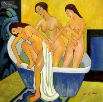 "ERNST LUDWIG KIRCHNER - WOMEN BATHING  32X32 "" OIL PAINTING REPRODUCTION – image 1"
