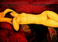 "AMEDEO MODIGLIANI - NUDE WITH YELLOW CUSHION  32X44 "" OIL PAINTING – image 2"