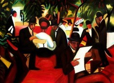 "AUGUST MACKE - GARDEN RESTAURANT  32X44 "" OIL PAINTING REPRODUCTION – image 2"