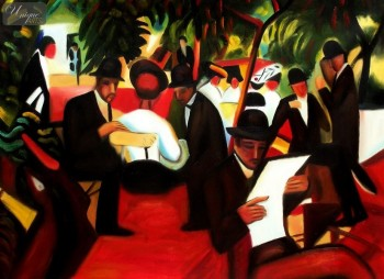 "AUGUST MACKE - GARDEN RESTAURANT  32X44 "" OIL PAINTING REPRODUCTION – image 1"