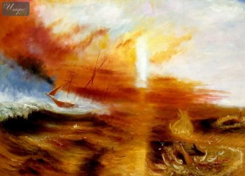 "WILLIAM TURNER - THE SLAVE SHIP  32X44 "" OIL PAINTING REPRODUCTION – image 1"