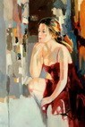 "MODERN ART - FEMALE POSE - THOUGHTFUL 24X36 "" ORIGINAL OIL PAINTING – image 2"