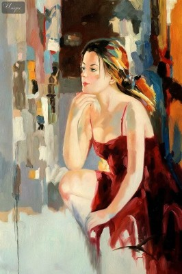 "MODERN ART - FEMALE POSE - THOUGHTFUL 24X36 "" ORIGINAL OIL PAINTING – image 1"