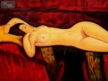 "AMEDEO MODIGLIANI - NUDE WITH YELLOW CUSHION  12X16 "" OIL PAINTING – image 1"