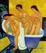"ERNST LUDWIG KIRCHNER - WOMEN BATHING  16X20 "" OIL PAINTING REPRODUCTION – image 2"